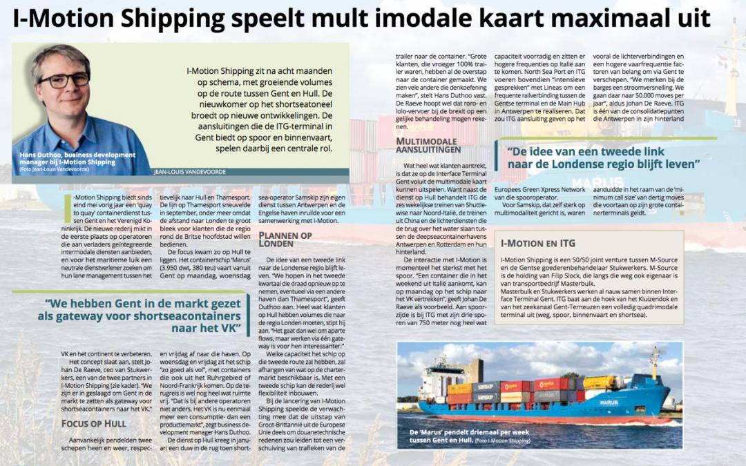 I-MOTION Shipping speelt multimodale kaart maximaal uit (Flows Magazine, 03/2019)